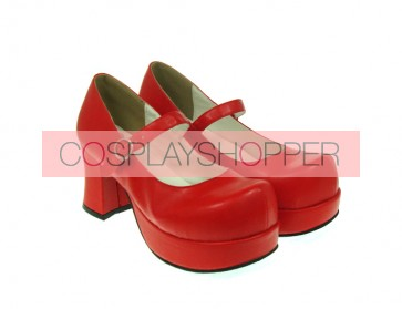 "Red 2.9"" Heel High Special Synthetic Leather Round Toe Cross Straps Platform Women Lolita Shoes"