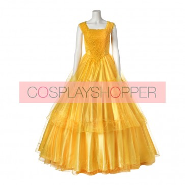 2017 New Movie Beauty and the Beast Belle Princess Dress Cosplay Costume - Version 2