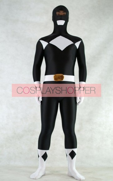 Black Spandex Power Rangers Superhero Zentai Bodysuit Costume