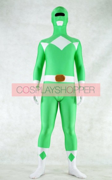 Green Spandex Power Rangers Superhero Zentai Bodysuit Costume