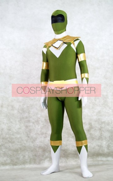 Dark Green Spandex Power Rangers Superhero Zentai Bodysuit Costume