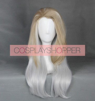 Brown and White 60cm Heroes of the Storm Johanna Cosplay Wig