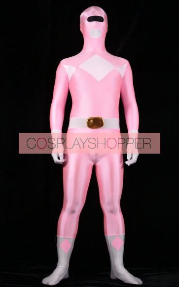 Pink Spandex Power Rangers Superhero Zentai Bodysuit Costume