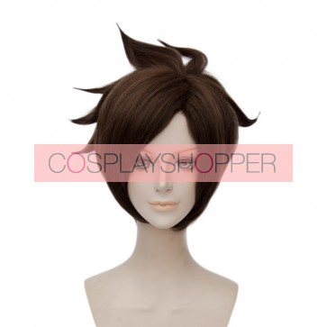 Brown 30cm Overwatch Tracer Lena Oxton Cosplay Wig