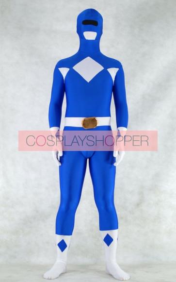 Blue Spandex Power Rangers Superhero Zentai Bodysuit Costume