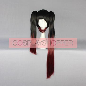 Black and Red 80cm Date A Live Kurumi Tokisaki Cosplay Wig