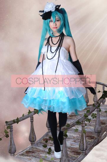 Vocaloid Miku White & Blue Cosplay Dress