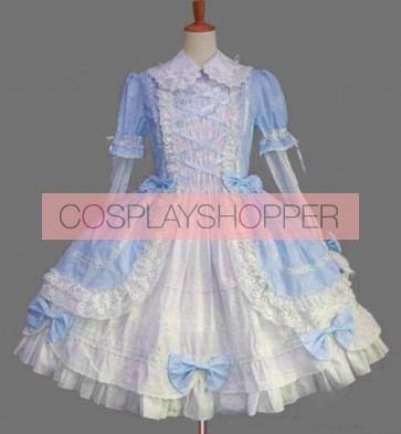 Gothic Long Sleeves Blue Lace Cotton Lolita Dress