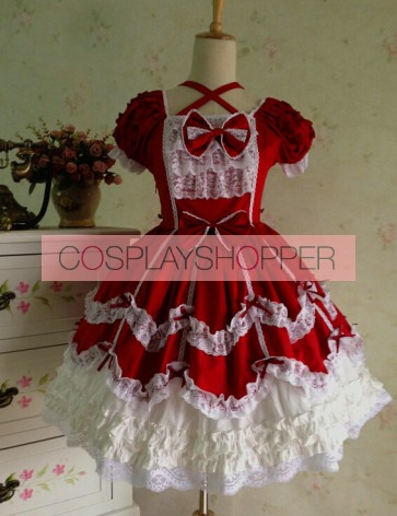 Sweet Short Sleeves Red Lace Cotton Lolita Dress