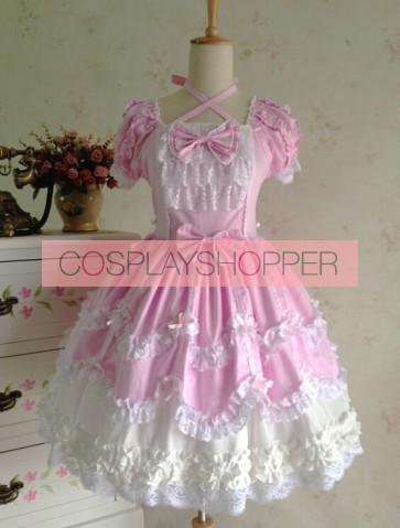 Sweet Short Sleeves Pink Lace Cotton Lolita Dress