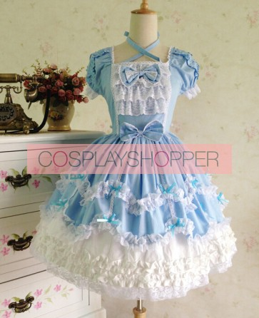 Sweet Short Sleeves Blue Lace Cotton Lolita Dress