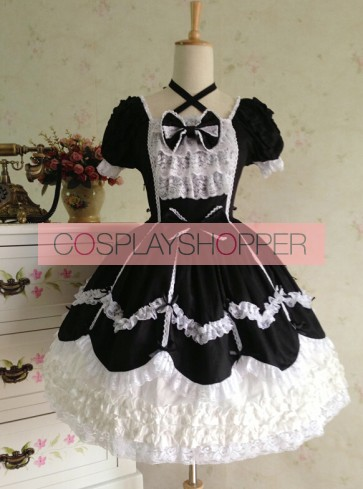 Sweet Short Sleeves Black Lace Cotton Lolita Dress