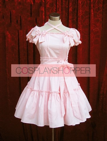 Pink Short Sleeves Bow Cotton Sweet Lolita Dress