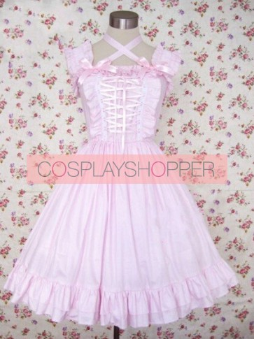 Light Pink Short Sleeves Bow Cotton Sweet Lolita Dress