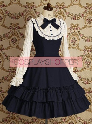 Blue Long Sleeves Ruffle Elegant Lolita Dress