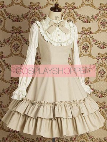 Beige Long Sleeves Ruffle Elegant Lolita Dress
