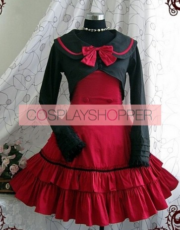 Red Long Sleeves Bow Preppy Style Cotton Sweet Lolita Dress With Cape