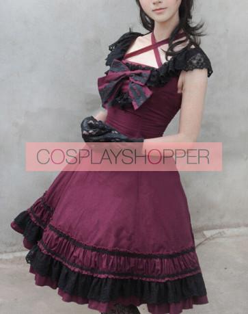 Sweet Purplish Red Sleeveless Bow Lace Lolita Dress