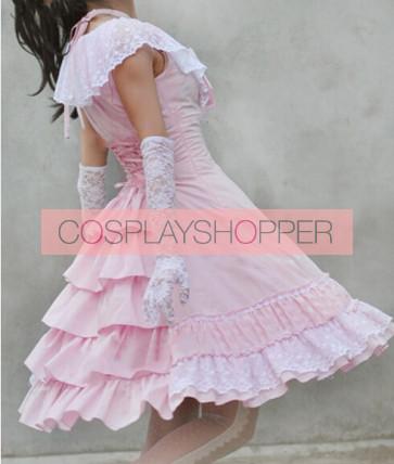 Sweet Pink Sleeveless Bow Lace Lolita Dress