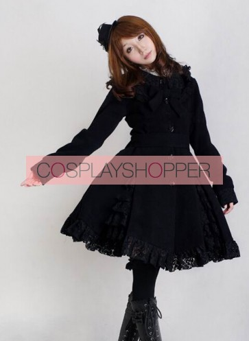 Gorgeous Black Long Sleeves Bow Black Lace Lolita Coat