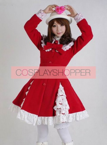 Glamorous Red Long Sleeves Bow White Lace Lolita Coat