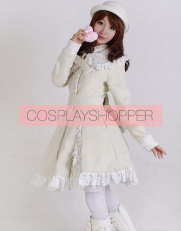 Glamorous Beige Long Sleeves Bow White Lace Lolita Coat