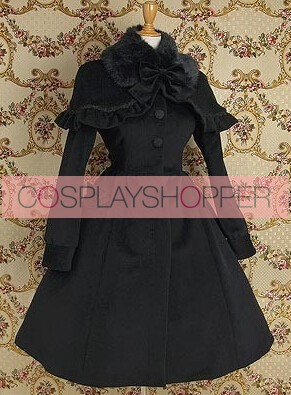Gothic Black Wool Cape Lolita Coat