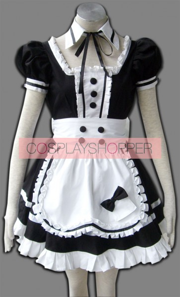 Black Short Sleeves Cute Cosplay Maid Costume