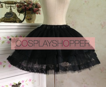 Gothic Black Organza Layered Lolita Skirt