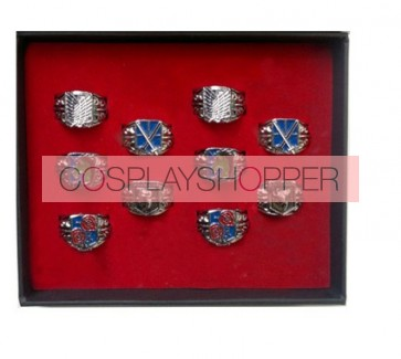 10-Piece Attack On Titan Cosplay Ring Set