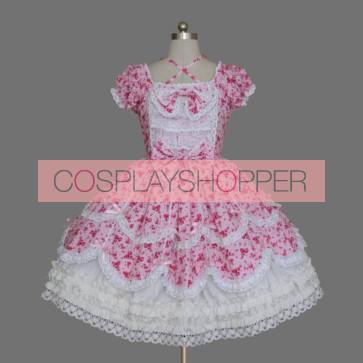 Pink And White Short Sleeves Stylish Cotton Classic Lolita Dress