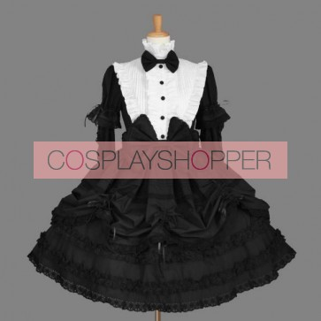 Black Stand Collar Bows Cotton Gothic Lolita Dress