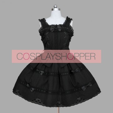 Black Sleeveless Bandage Bows Cotton Gothic Lolita Dress