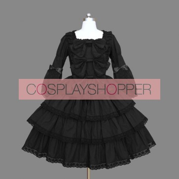 Black Layered Lace Cotton Gothic Lolita Dress