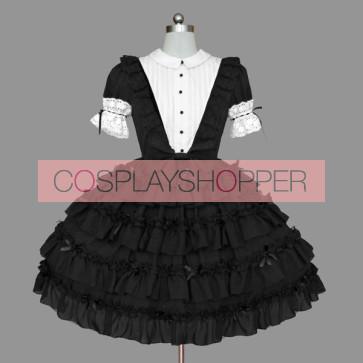 Black And White Lace Elegant Cotton Gothic Lolita Dress