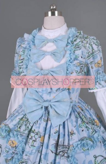 Blue And White Long Sleeves Bows Sweet Lolita Dress