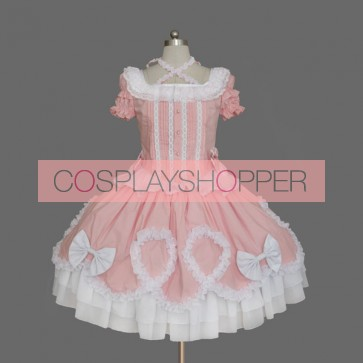 Pink And White Short Sleeves Bow Buttons Cute Sweet Lolita Dress