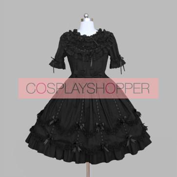 Black Round Neck Bows Cotton Gothic Lolita Dress