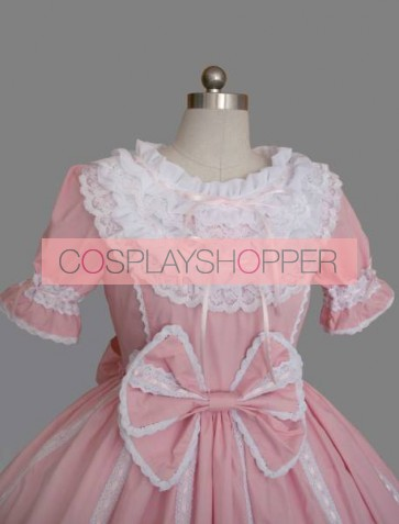 Pink And White Round Neck Short Sleeves Sweet Lolita Dress