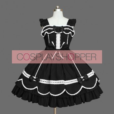 Black Ruffles Lace Cotton Gothic Lolita Dress