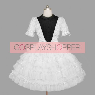 Black And White Short Sleeves Lace Multi-layer Cotton Gothic Lolita Dress