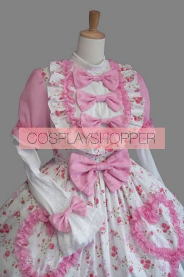 Pink And White Short Sleeves Bows Sweet Lolita Dress