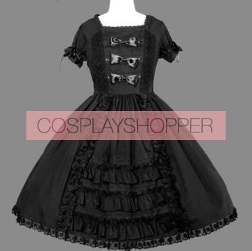 Black Bandage Lace Cotton Gothic Lolita Dress