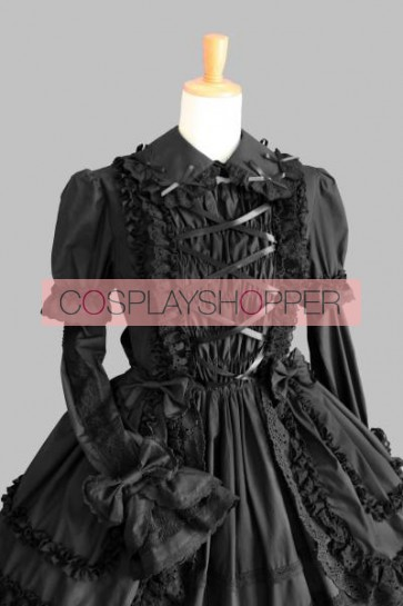 Black Short Sleeves Bandage Gothic Lolita Dress