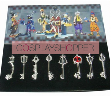Silver Kingdom Hearts Pendant Set