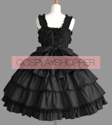 Black Short Sleeves Bandage Bows Gothic Lolita Dress