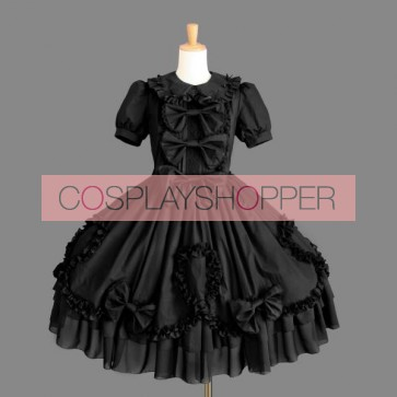 Black Short Sleeves Bows Lace Cotton Gothic Lolita Dress