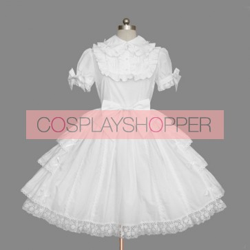 White Short Sleeves Bows Cotton Sweet Lolita Dress