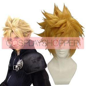 30cm Golden Flax Mixed Final Fantasy Cloud Strife Nylon Cosplay Wig