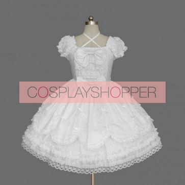 White Short Sleeves Lace Bow Lovely Sweet Lolita Dress